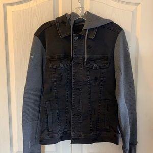 Hollister distressed denim hooded jacket